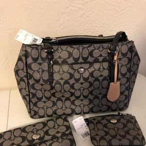 Coach Signature Black Vinyl Handbag Purse NWT